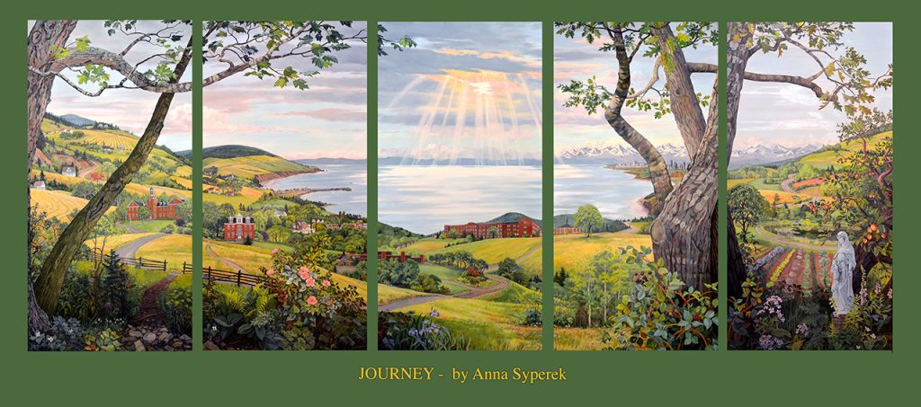 """JOURNEY"" Journey is an allegorical landscape which reflects the journey of a group of remarkable spiritual women- the Sisters of St. Martha.  The winding path, which starts in the small farms of rural Antigonish and Cape Breton, continues to their humble beginnings of service to others at St. F X and then branching out on their own and to their own motherhouse, Bethany on the hill. The landscape changes perspective and scale as the path continues. The Marthas gradually spread their mission across the country through hospitals and social work in places like Banff, Canmore, Lethbridge, Winnipeg, Boston in the US as well as other parts of Nova Scotia. The journey winds on to the as yet unknown but hopeful future, through the gardens of one of their latest projects, the Bethany Apprenticeship Farm Program. An expression of their continuing commitment to ecological and social justice, the landscape is set against the backdrop of the ever-present sea and sky of Nova Scotia. This gives the work luminosity and the light through the clouds becomes a beacon for their idea of ""pockets of hope"". Anna Syperek"